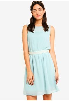 ZALORA green Bridesmaid Embellished Waist Tie Mini Dress AA171AA0F12479GS 1 2b134d37d