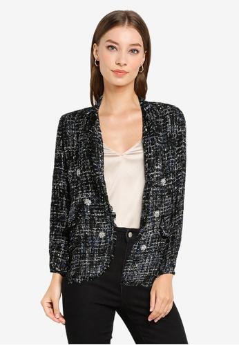 ZALORA OCCASION black Gem Detailed Tweed Blazer 5F162AAD6FFF0BGS_1