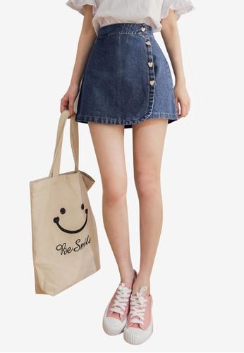 Eyescream blue Heart Buttons Overlap Denim Mini Skirt 8D7C9AAAE63059GS_1