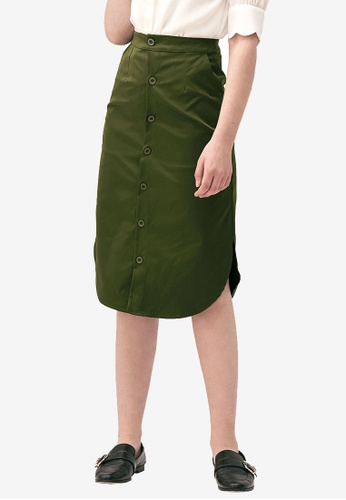 Kodz green Buttoned Skirt with Round Hem 9ABC0AAB9BB2EFGS_1