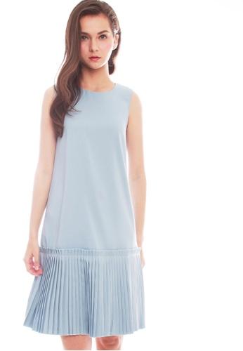 JOVET blue Pleated Hem Dress AF3E1AA48FB5EEGS_1