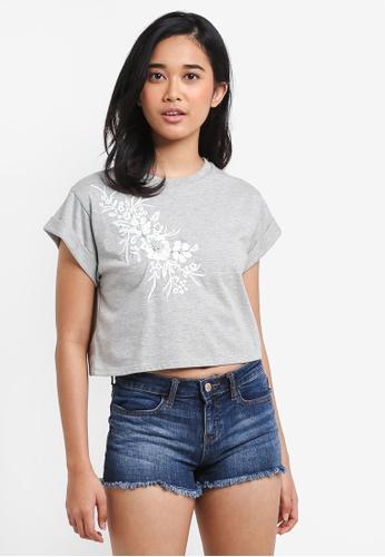 Miss Selfridge grey Petite Pale Grey Pearl Embellished T-Shirt CFFA4AA707B533GS_1