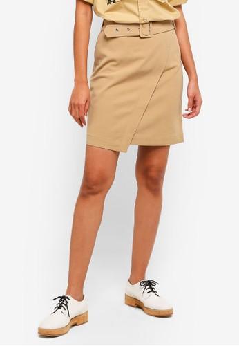 Hopeshow brown Knee Length Wrap Skirt With Belt 7D506AA9F2D6EFGS_1
