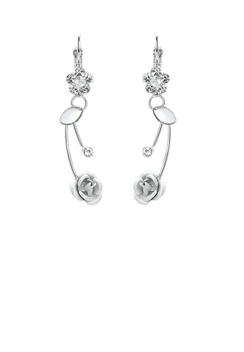 Glamorousky silver Elegant Silver Rose Earrings with Silver Austrian Element Crystals and Crystal Glass CF078AC0544364GS_1