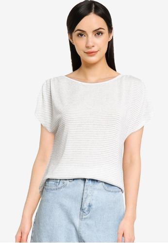 ONLY white Riz Short Sleeve Glitter Top AC275AA17389DAGS_1