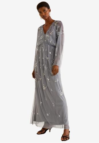 MANGO grey Sequined Gown 3107EAAC4C405CGS_1