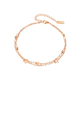 Glamorousky silver Simple Temperament Plated Rose Gold Star Double Layer 316L Stainless Steel Anklet 6F004ACA978DCEGS_1
