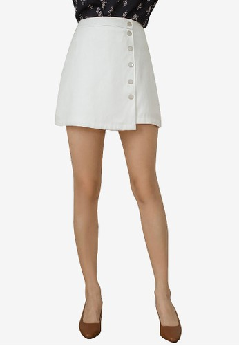 Tokichoi white Button-Front A-Line Mini Skirt D3797AA92C0719GS_1