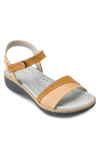 拼色繞踝esprit hk store涼鞋, 女鞋, 楔形涼鞋