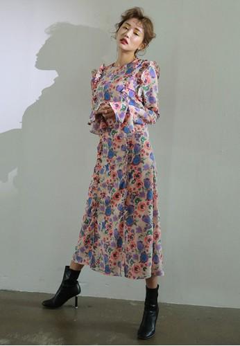 韓時尚花卉荷葉飾及膝洋裝esprit旗艦店, 服飾, 洋裝