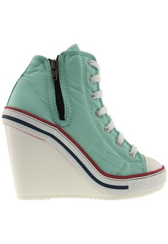 Maxstar green Maxstar Women's 777 Side Zipper Canvas High Wedge Heel Sneakers US Women Size MA164SH03PUESG_1