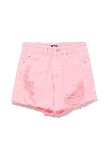 izzue pink Distressed denim shorts 71447AA7B6576FGS_1