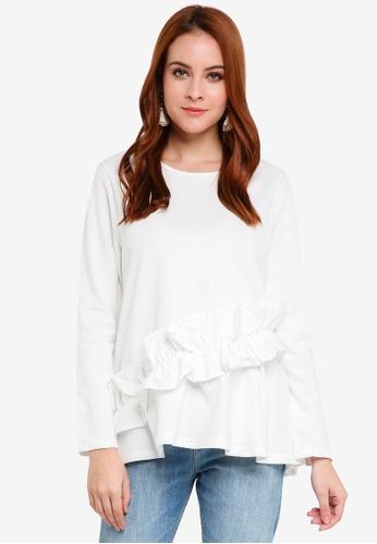Zalia white Asymmetrical Ruffle Top 1B081AAAB28025GS_1
