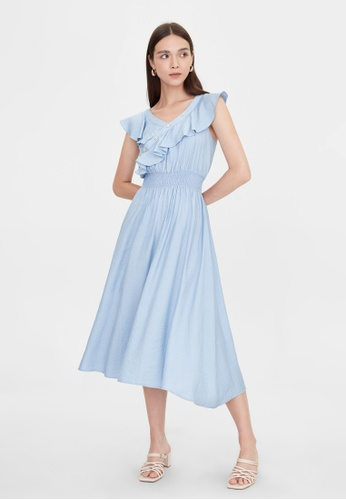 Pomelo blue Ruffled Neck Elastic Waist Dress - Blue EDEC9AAD182FB6GS_1