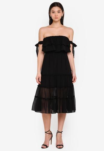 Preen & Proper black Tiered Bustier Midi Dress F0395AA33C2727GS_1