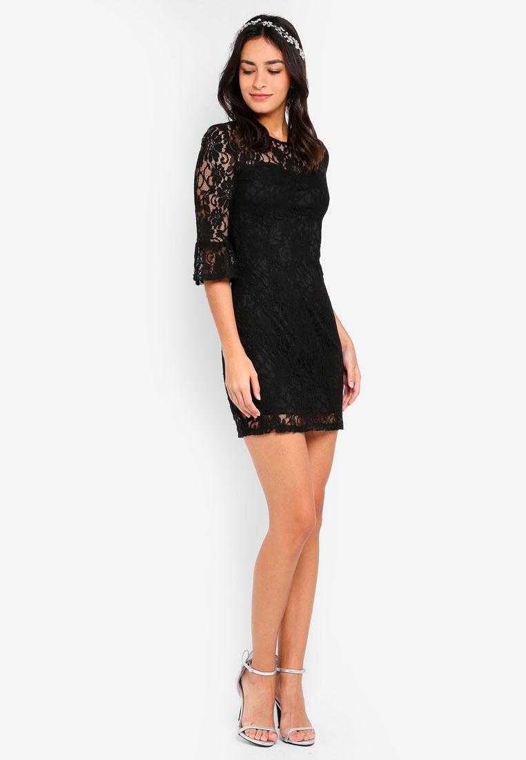 ZALORA Black Dress Neck Bridesmaid Lace Sweetheart 1XTnIqPx