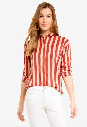 ICHI red Corin Shirt F6B9EAAB78ECACGS_1