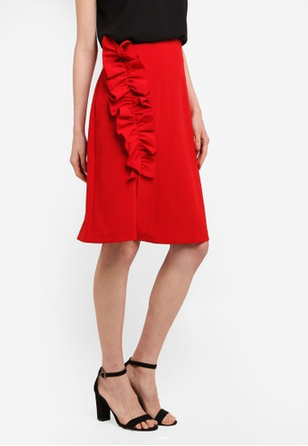 CLOSET red Asymmetric Frill Skirt A4864AAC107F67GS_1