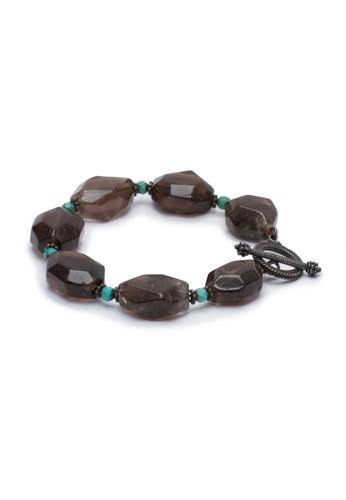Celline Silver black Smokey Quartz with Turquoise Bracelet 9C1DAAC6703A37GS_1