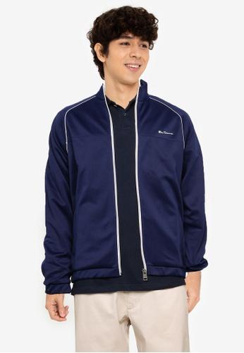 Ben Sherman blue Tricot Zip Through Jacket 239FEAA4C800E3GS_1