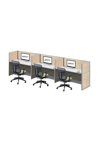 AMERCIS white Amercis Stamford 1200L Workstation for 3 C34D3HL56147D7GS_1