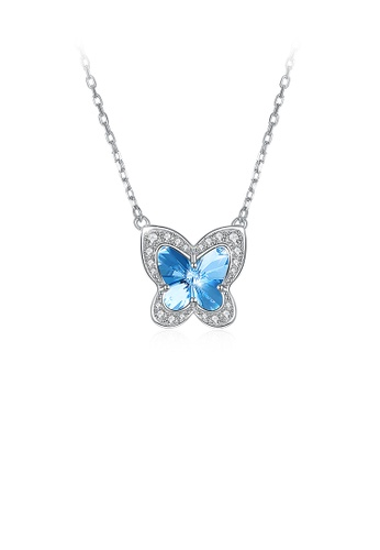 Glamorousky blue 925 Sterling Silver Blue Butterfly Necklace with Austrian Element Crystal 2B121AC809465CGS_1