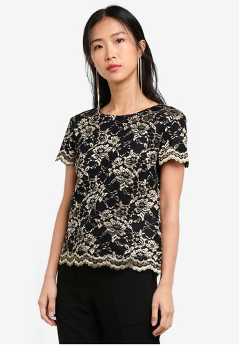 ZALORA black and gold Placement Lace Short Sleeve Top 110F0AA31726DCGS_1