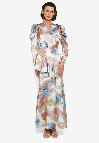 Zalia brown and blue Asymmetrical Flounce Puff Sleeve Dress 0D84AAAC078D0DGS_1