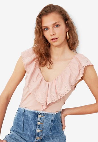Trendyol pink Ruffle Detail V Neck Top EBCD0AA6E6CAC4GS_1