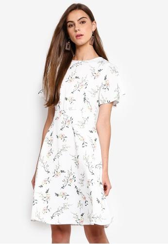 618d101d1046 Dorothy Perkins white Petite Ivory Floral Midi Dress 8474CAA3858D56GS_1