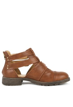 Lilana - Monica Buckle Cut Out Boots