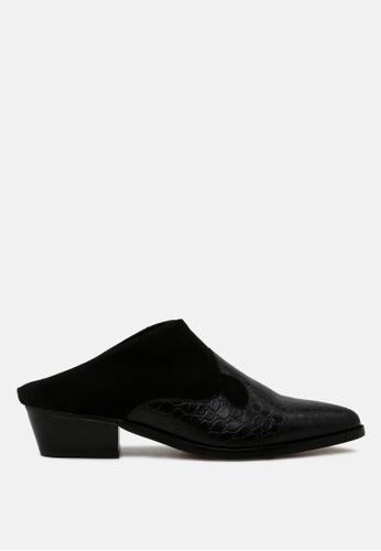 London Rag 黑色 印纹露跟尖头鞋 37214SHBAB133FGS_1