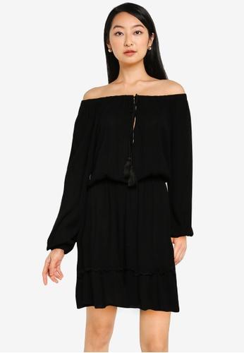MISSGUIDED black Bardot Tassel Dress 84362AA8FBEE0BGS_1