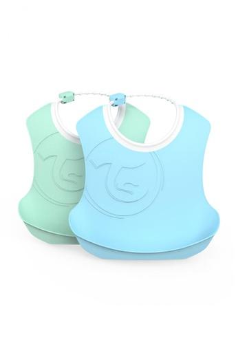 Twistshake Twistshake 2X Bib 4+M Pastel Blue Green 5AAC0ES13A8B8BGS_1