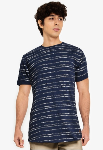 Indicode Jeans blue Boone Uneven Lines T-Shirt EB5CDAAB41B63EGS_1