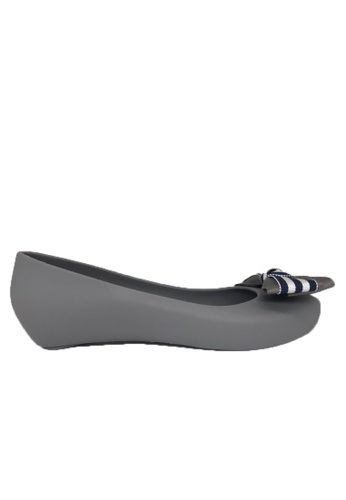 Halo grey Bow Waterproof Jelly Flats Shoes DAA7DSH1F833F0GS_1