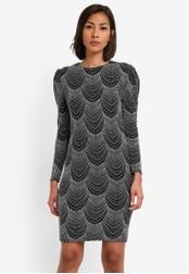 Dorothy Perkins silver Petite Silver Mutton Sleeve Dress DO816AA0SB6CMY_1