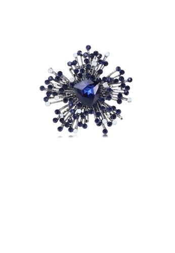 Glamorousky white Fashion Bright Snowflake Brooch with Blue Cubic Zirconia DAD3DACF09D152GS_1