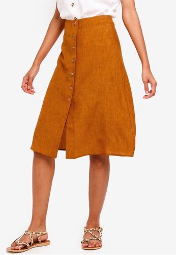 ZALORA BASICS orange Basic Button Through Midi Skirt 431E0AA5FE17DCGS_1