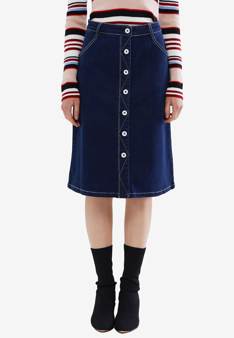 Button Midi Denim Down Denim Hopeshow Blue Skirt SzTdadn
