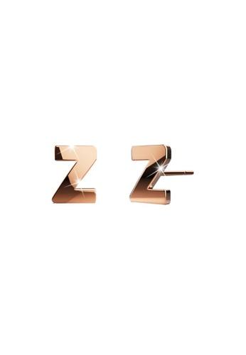 Bullion Gold gold BULLION GOLD Dainty Alphabet Letter Earring Rose Gold Layered Steel Jewellery - Z 745E1ACBAAABD1GS_1