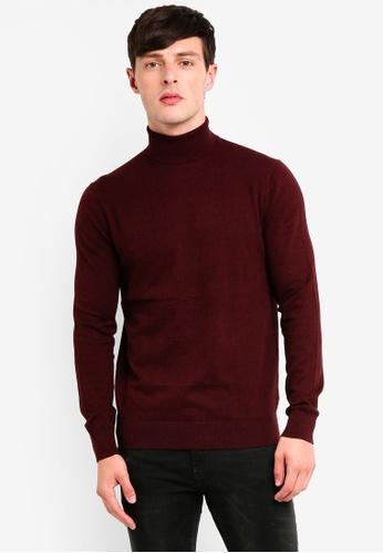 Burton Menswear London 紅色 高領拉鍊針織衫 74FA5AAEB63423GS_1