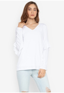 ae893cf7cc552b White Knitted V-Neck Ruffled Long Sleeves Top 87D57AA0205901GS 1