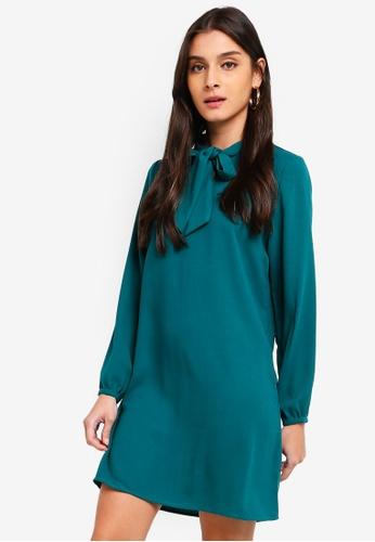 ZALORA green Tie Bow Long Sleeves Dress B4CE2AAAEFBA30GS_1