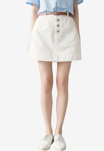 Tokichoi white Casual Button Fly Mini Skirt 3698CAA4964181GS_1