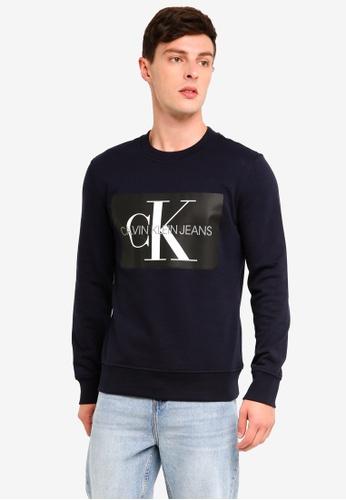4059e4fb7b7 Calvin Klein navy A-Monogram Box Reg Crew Neck Sweatshirt - Calvin Klein  Jeans DF46CAAD5EF796GS 1