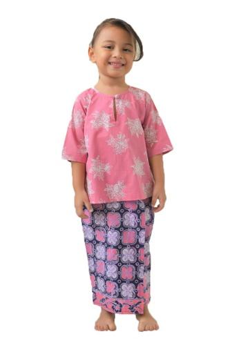 AYAYU white and pink and blue and purple and multi KUNTUMK Baju Kurung Kedah with Sarong Malaysia Handblocked Batik Pink AB4A4KAE2AEFBFGS_1