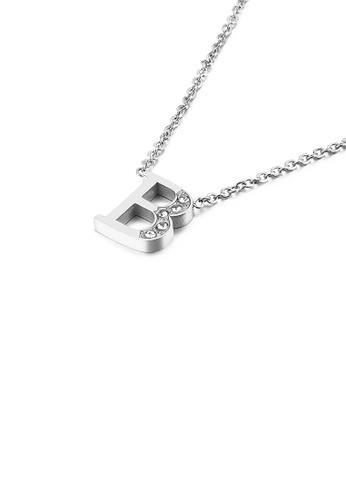 Glamorousky 白色 時尚個性英文字母B 316L吊墜配鋯石及項鏈 5680DAC22DA972GS_1