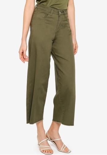 ZALORA BASICS green Wide Leg Raw Hem Jeans D83EDAA940A881GS_1