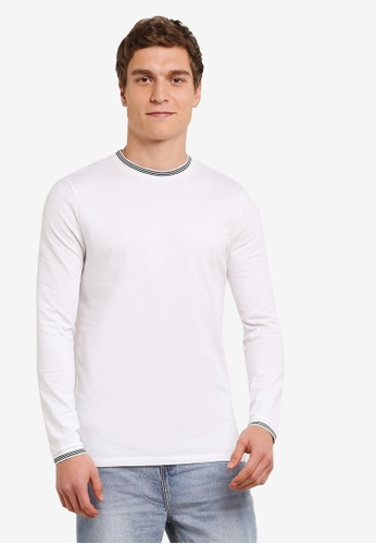 Topman 白色 Long Sleeve White Tipped Ringer T-Shirt TO413AA0SAF6MY_1